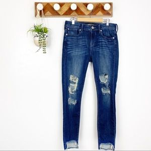 Express | Ankle Legging Mid Rise Distressed Jeans